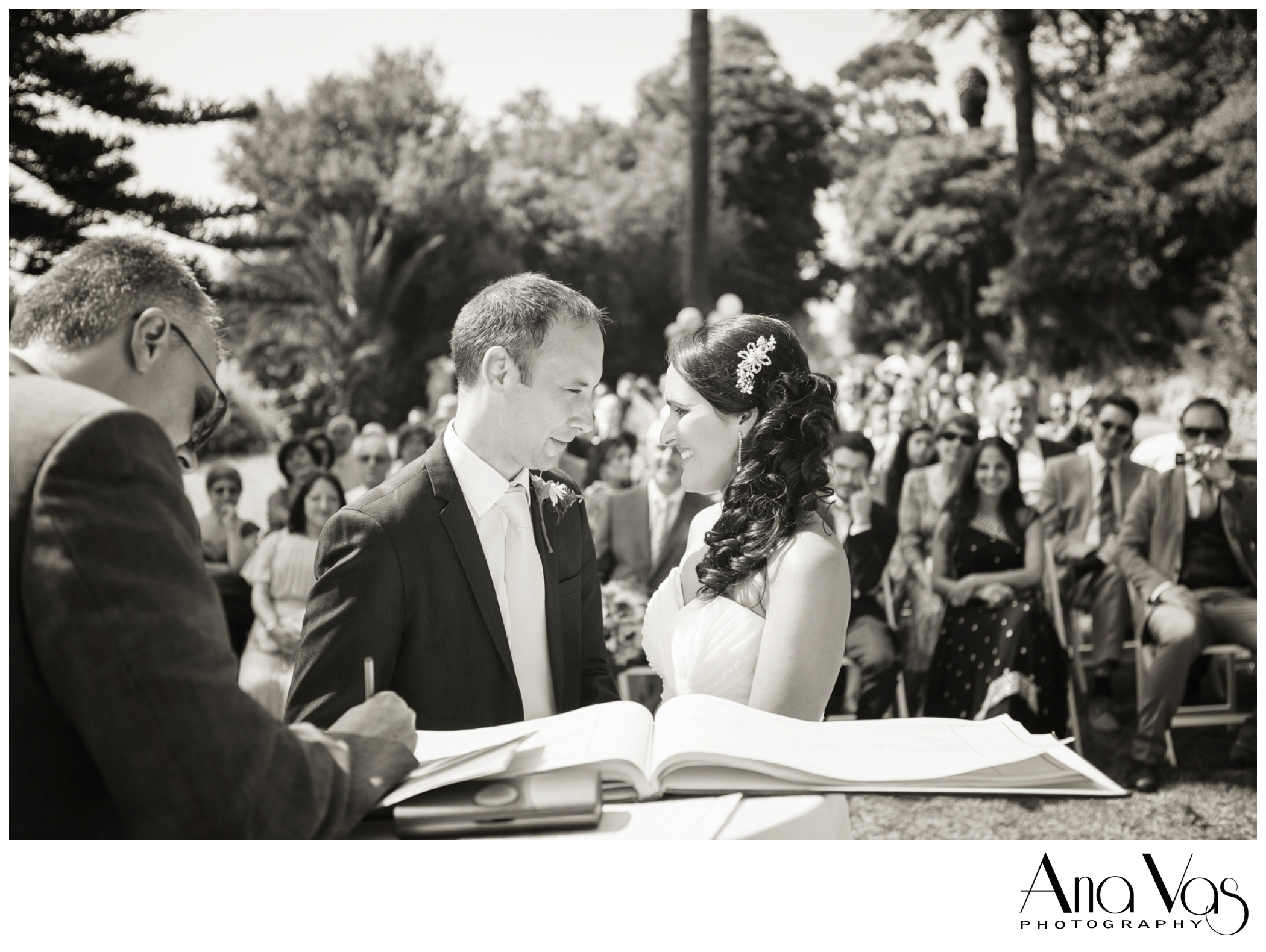 Bride & Groom at outdoor wedding.