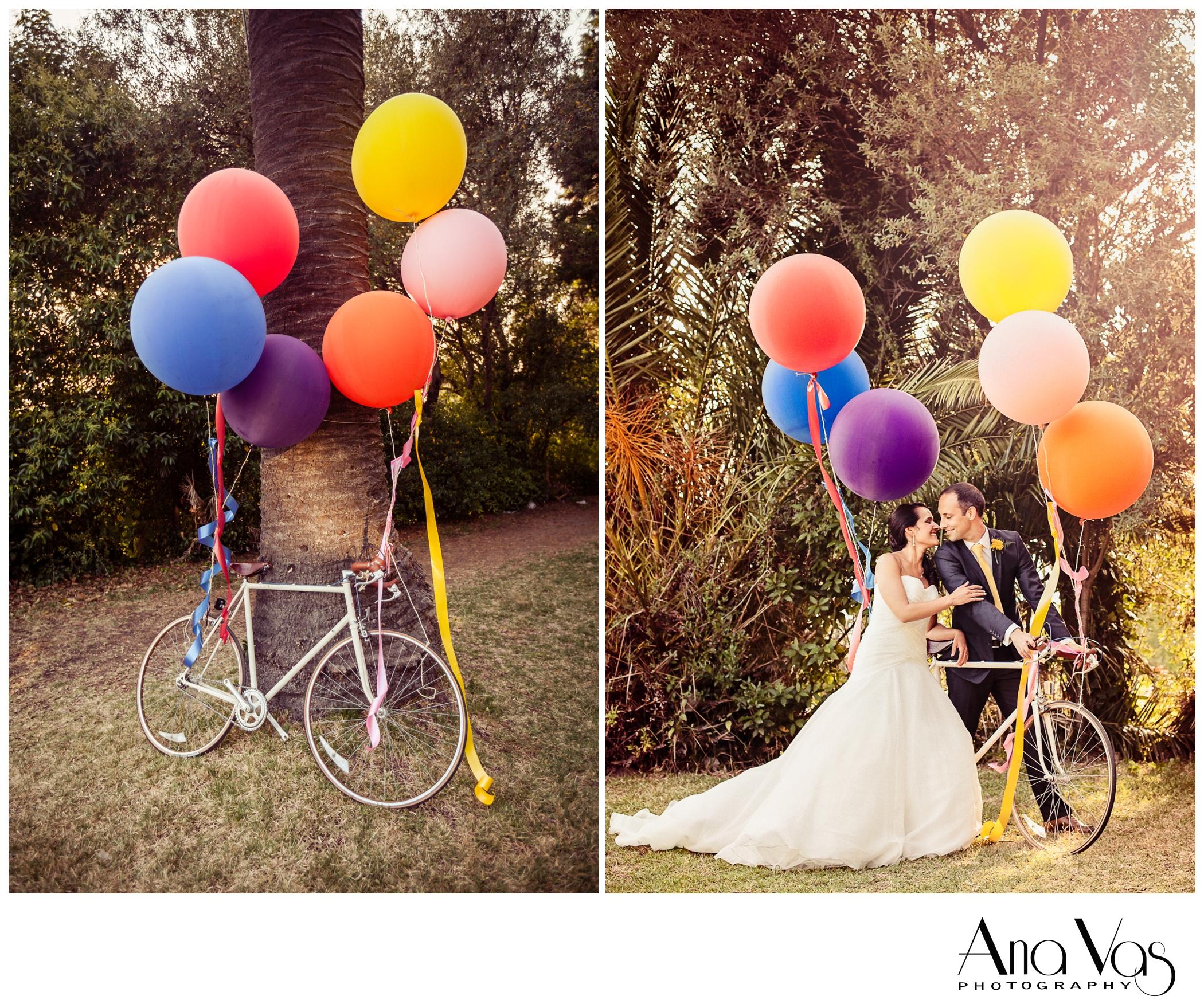 Bride & Groom portrait with vintage bicycle